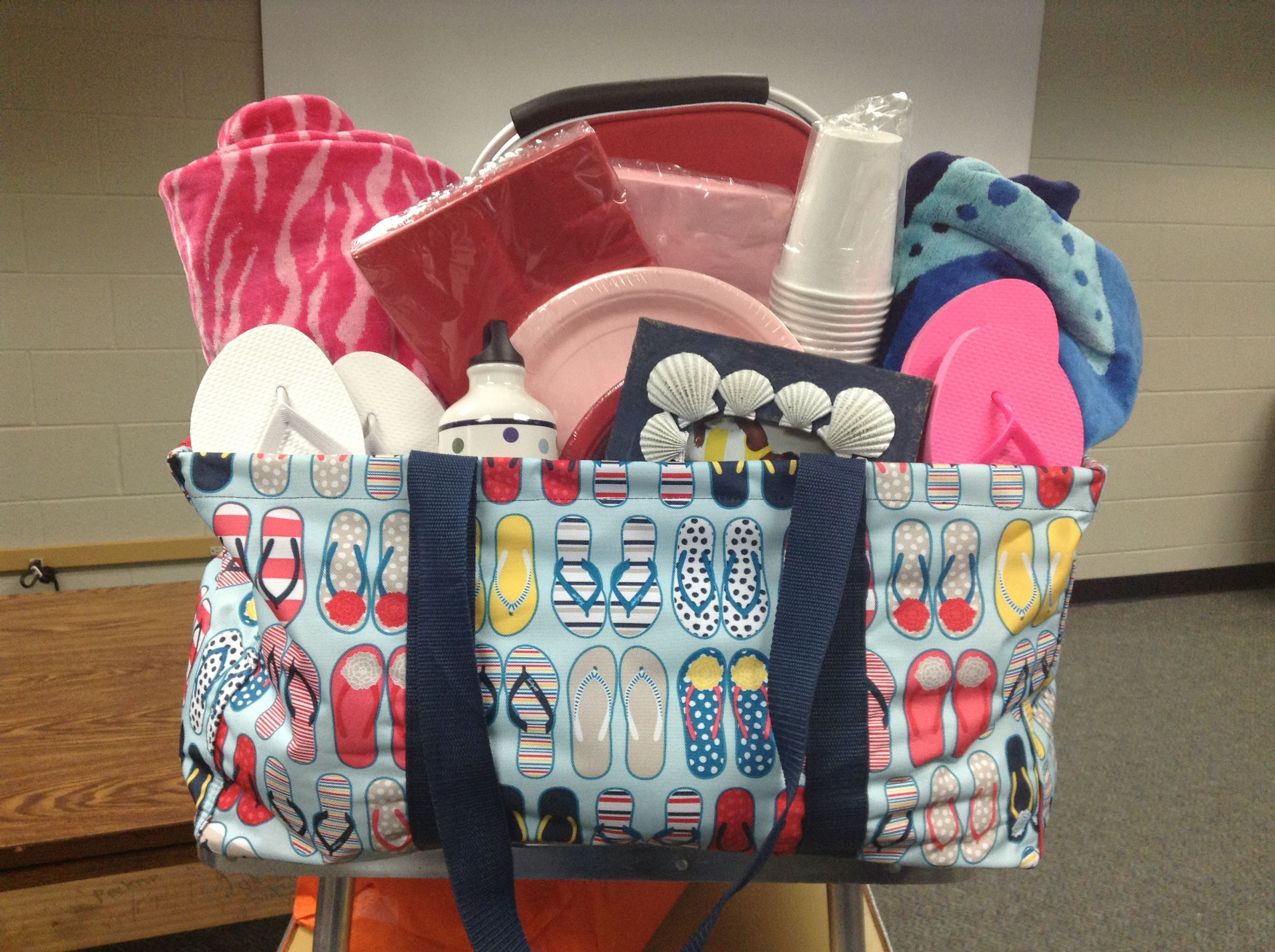 Beach themed gift bag/package: Filled with picnic supplies ...