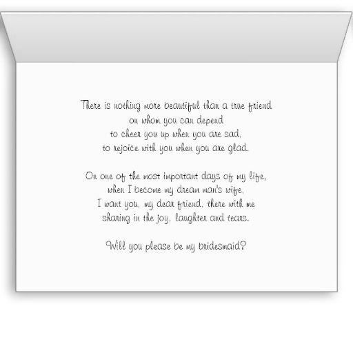 Will You Be My Bridesmaid Card Poem