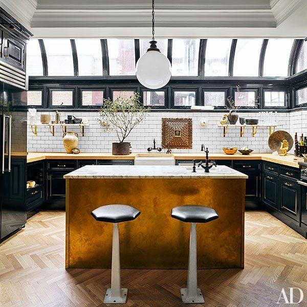 La casa de oro Isla cocina, Industrial y Madera - cocinas con isla