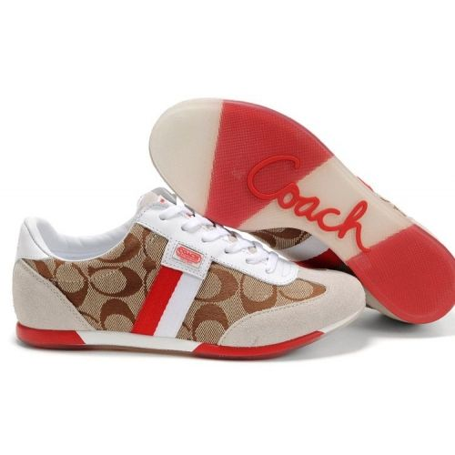 Coach Joss Signature Apricot White Red Sneakers