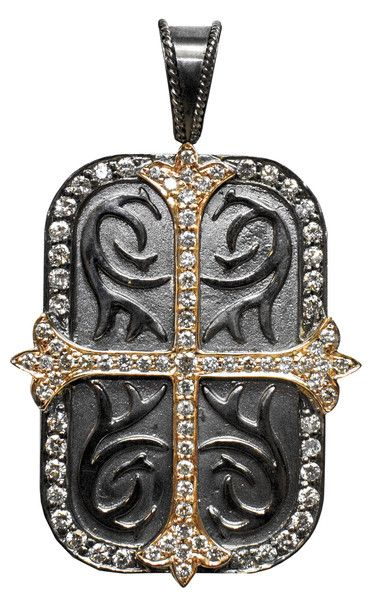 Daniel Bass, dog tag with DIAMONDS and rose gold on .925 sterling sliver