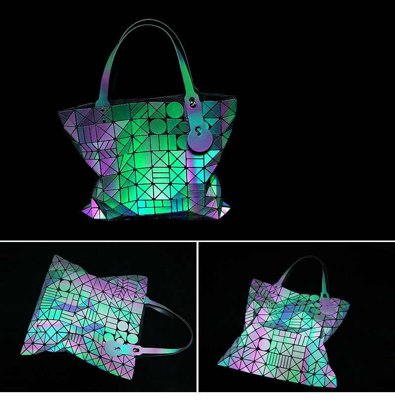 43b7eca2c0 Bolsas Femini2017 New Design Reflective Geometric Plaid Bag Fashion Casual Folding  Women Tote Bag Ladies Shoulder bolsa