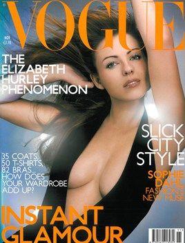 """Vogue UK cover November 2000. """"Elizabeth Hurley wers halter-neck wool body, at Donna Karan...Photography: Vincent Peters."""""""