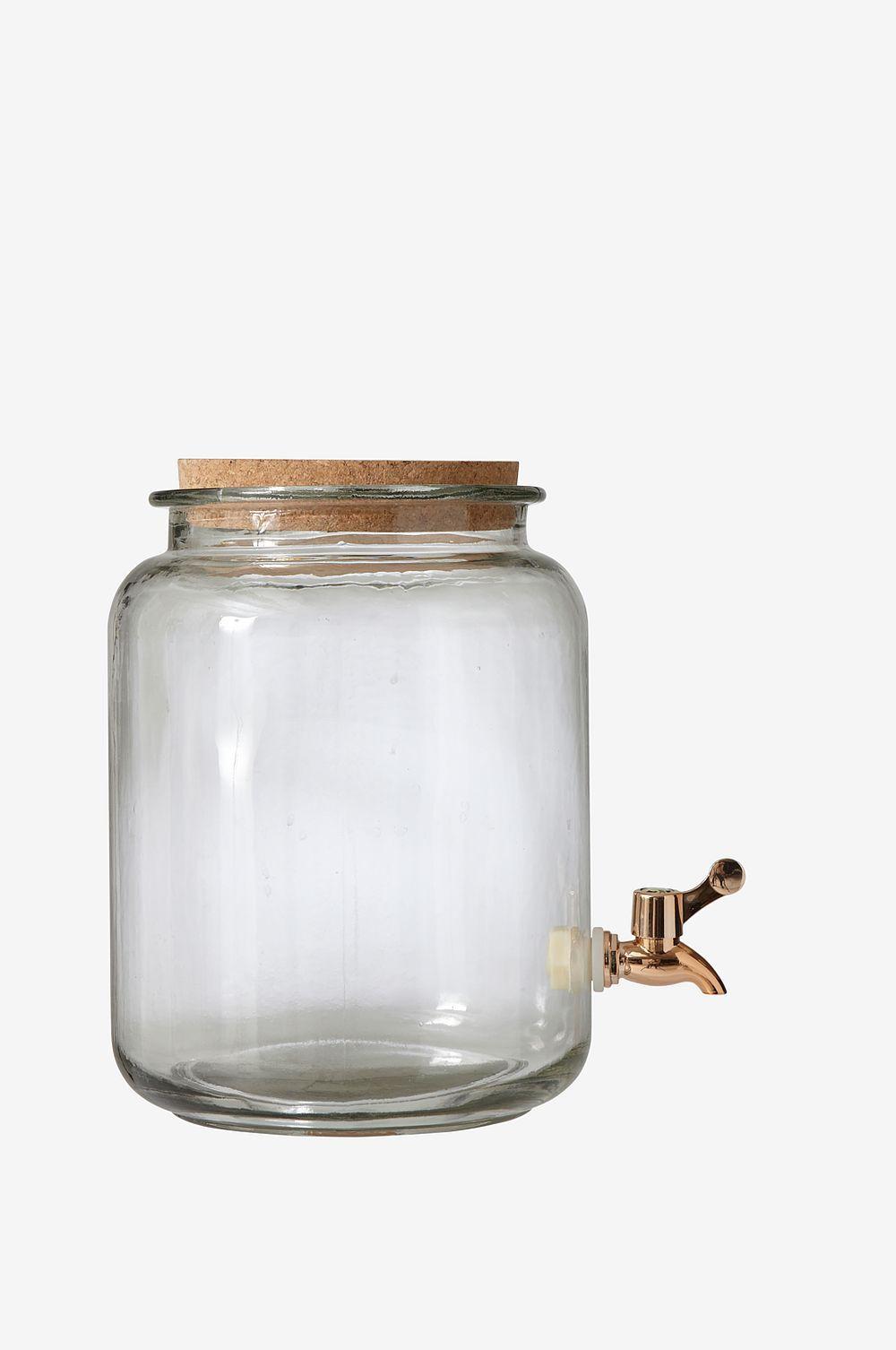 Lasipurkki, jonka kansi korkkia. Hana kuparinväristä muovia. Korkeus 32 cm. ø 22 cm. Tilavuus n. 7,5 litraa.