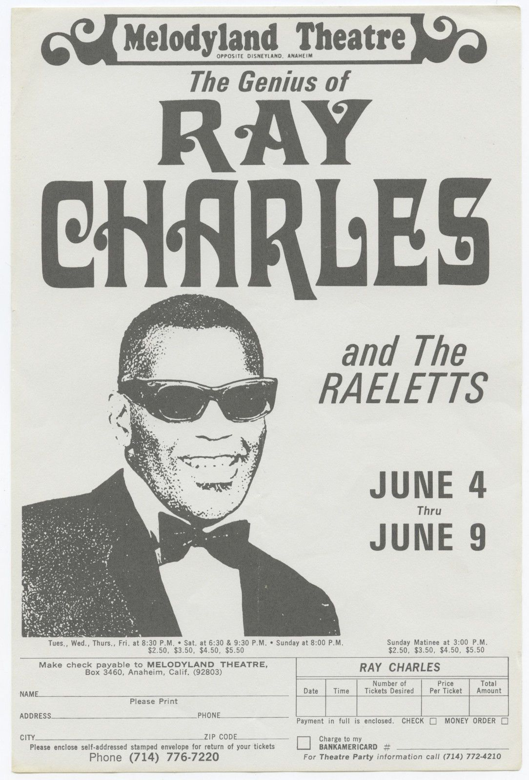 Poster for a Ray Charles concert series at the Melodyland Theatre in