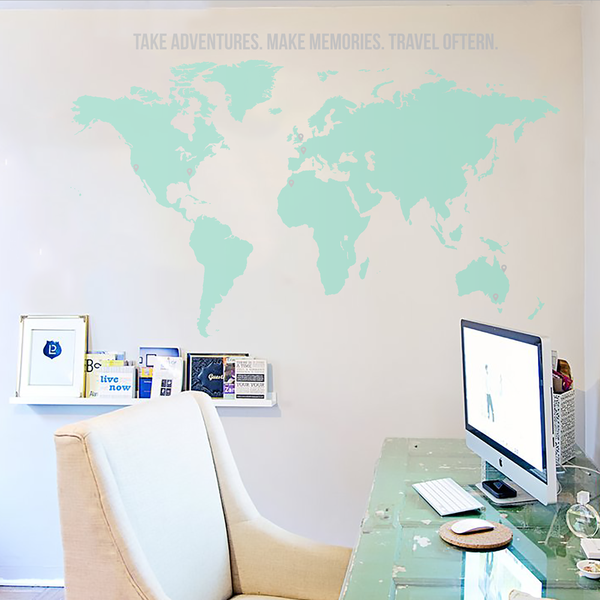 World map with quote vinyl wall decal wall decals walls and adhesive mint world map wall decal from vinyl impression gumiabroncs Choice Image