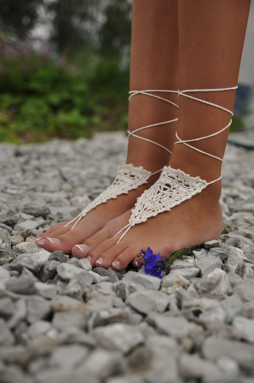Crochet Ivory Barefoot Sandals, Beach Wedding shoes, Bride