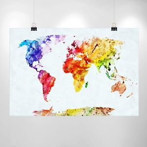 Large watercolor world map print home decor print poster ikea large watercolor world map print home decor print poster ikea wholesale cheap ebay gumiabroncs Image collections