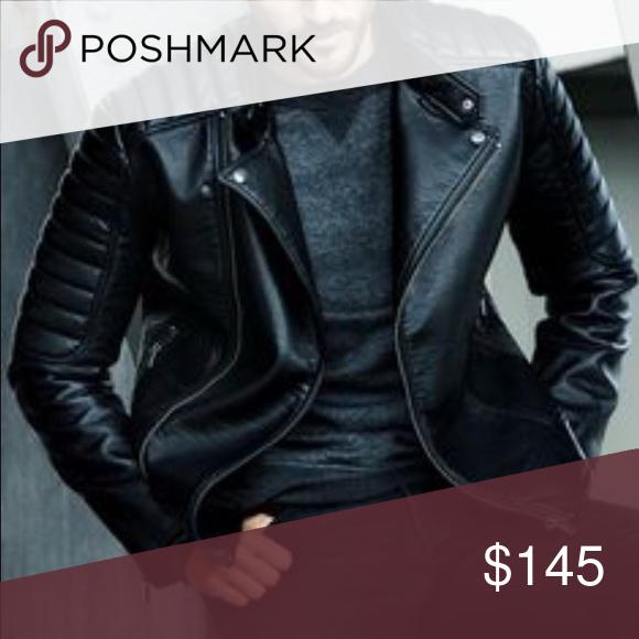 H&M Men's leather biker jacket Mens leather jacket biker