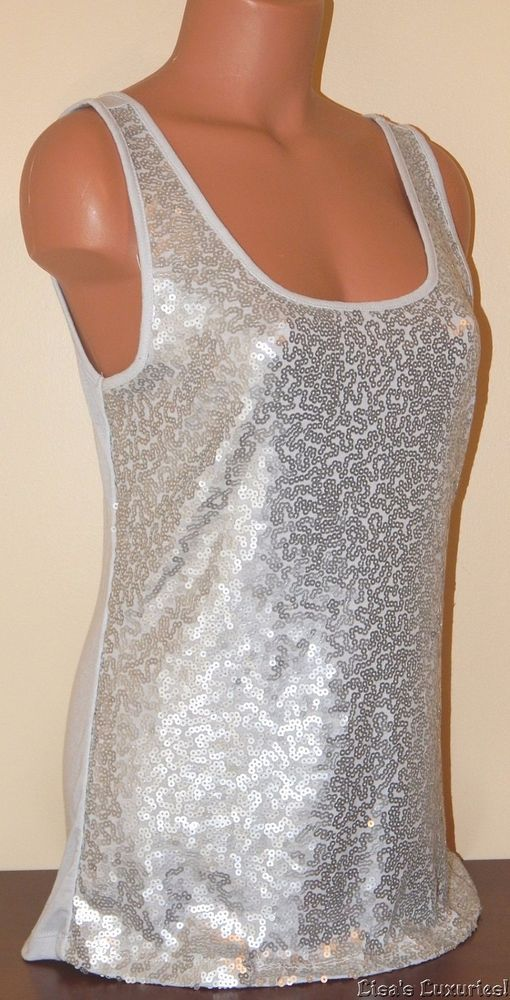 021d7e103b11c7 Women s Silver Sequin Tank Top Large OLD NAVY Perfect!  OLDNAVY  TankCami   Clubwear