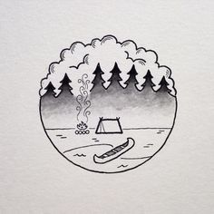 tattoo #fog #staywild instead of a canoe have a kayak or have a rucksack #Drawing