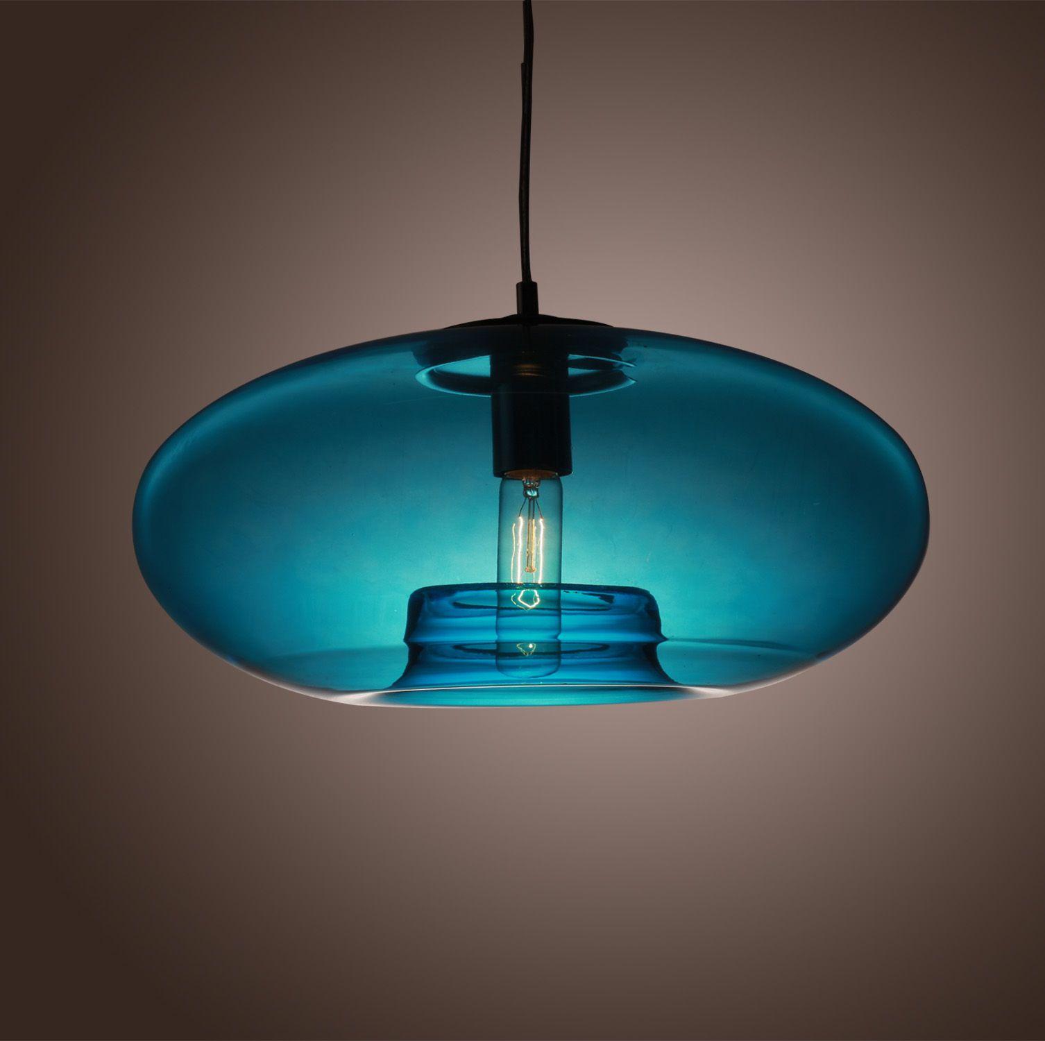 Lampe Lustre Suspension Moderne En Verre Bleu Luminaire Pour Cuisine