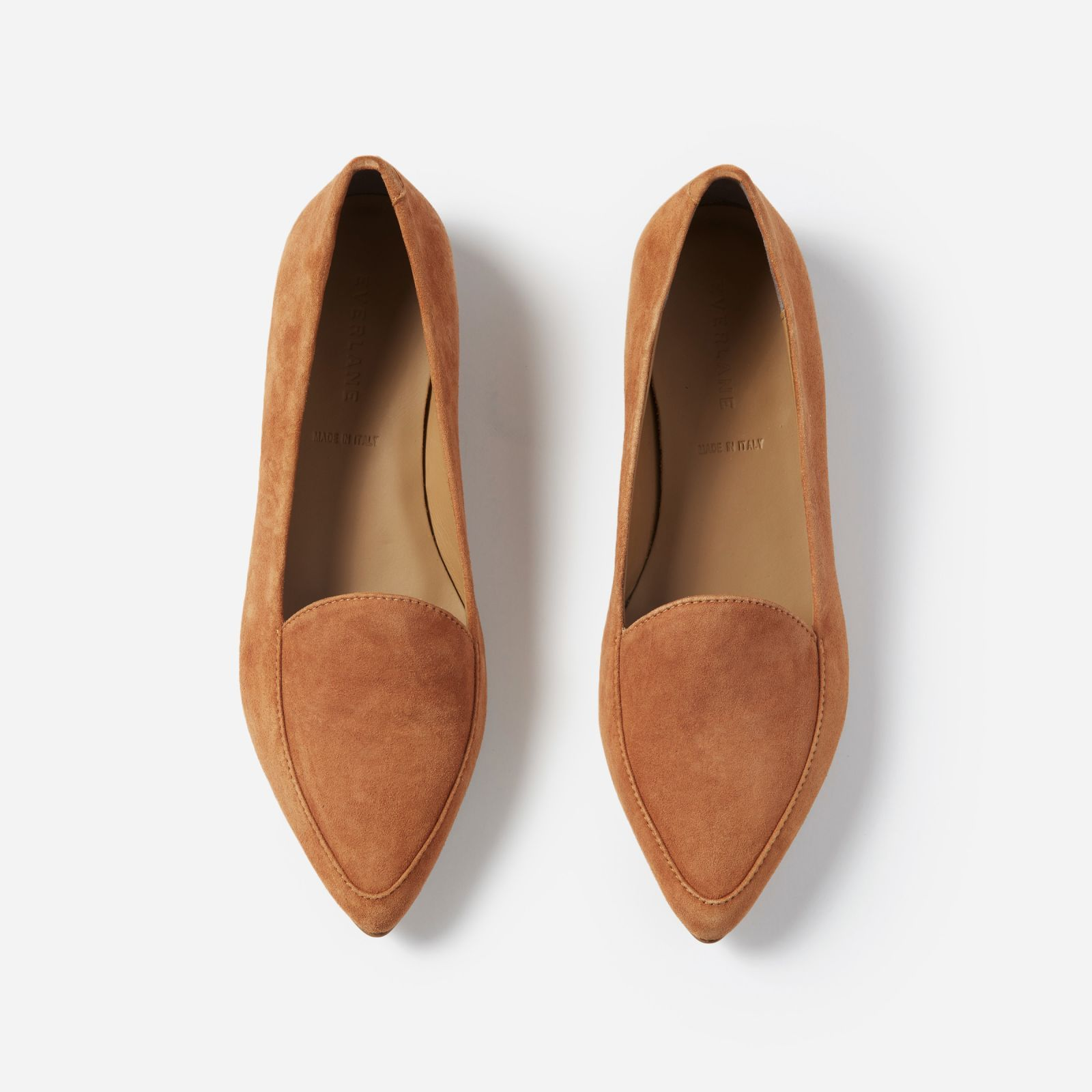 Women s Leather Flats by Everlane in Cognac Suede 8b950fe18a9d