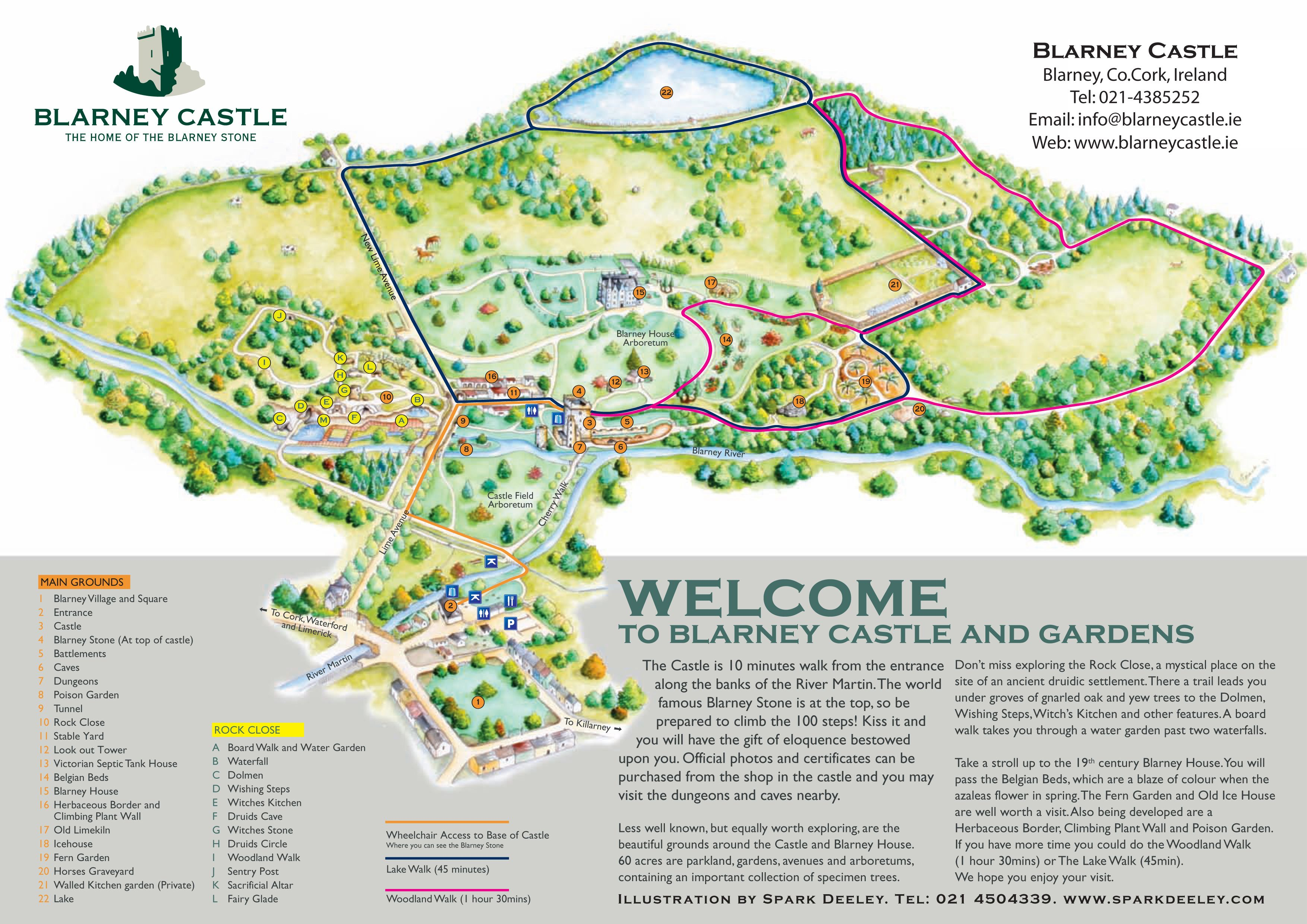 Map Of Castles In Ireland Blarney Castle Map See Map Details