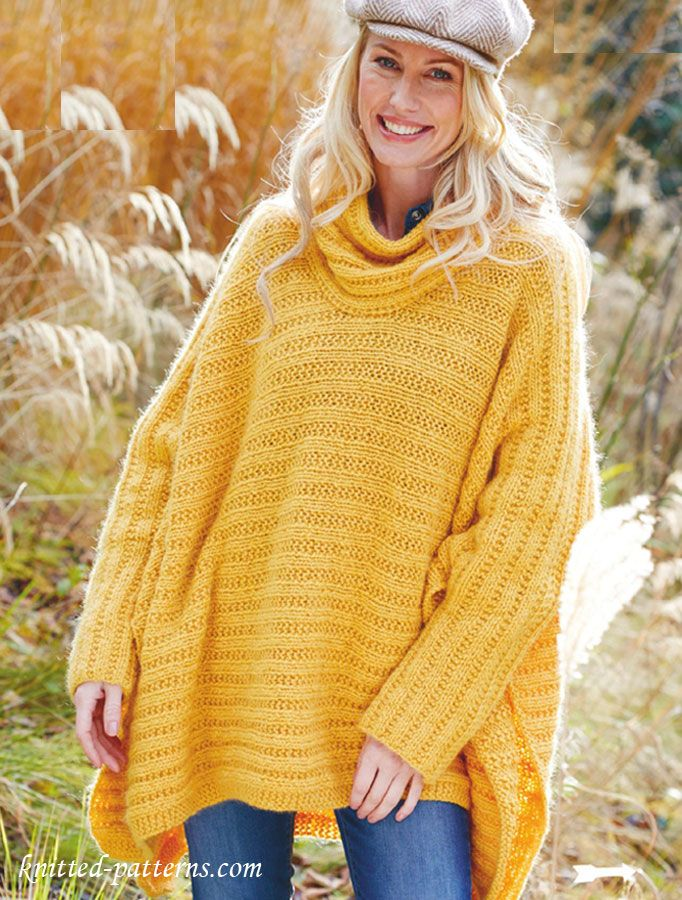 Poncho Jumper knitting pattern free Wonderful for spring, especially ...