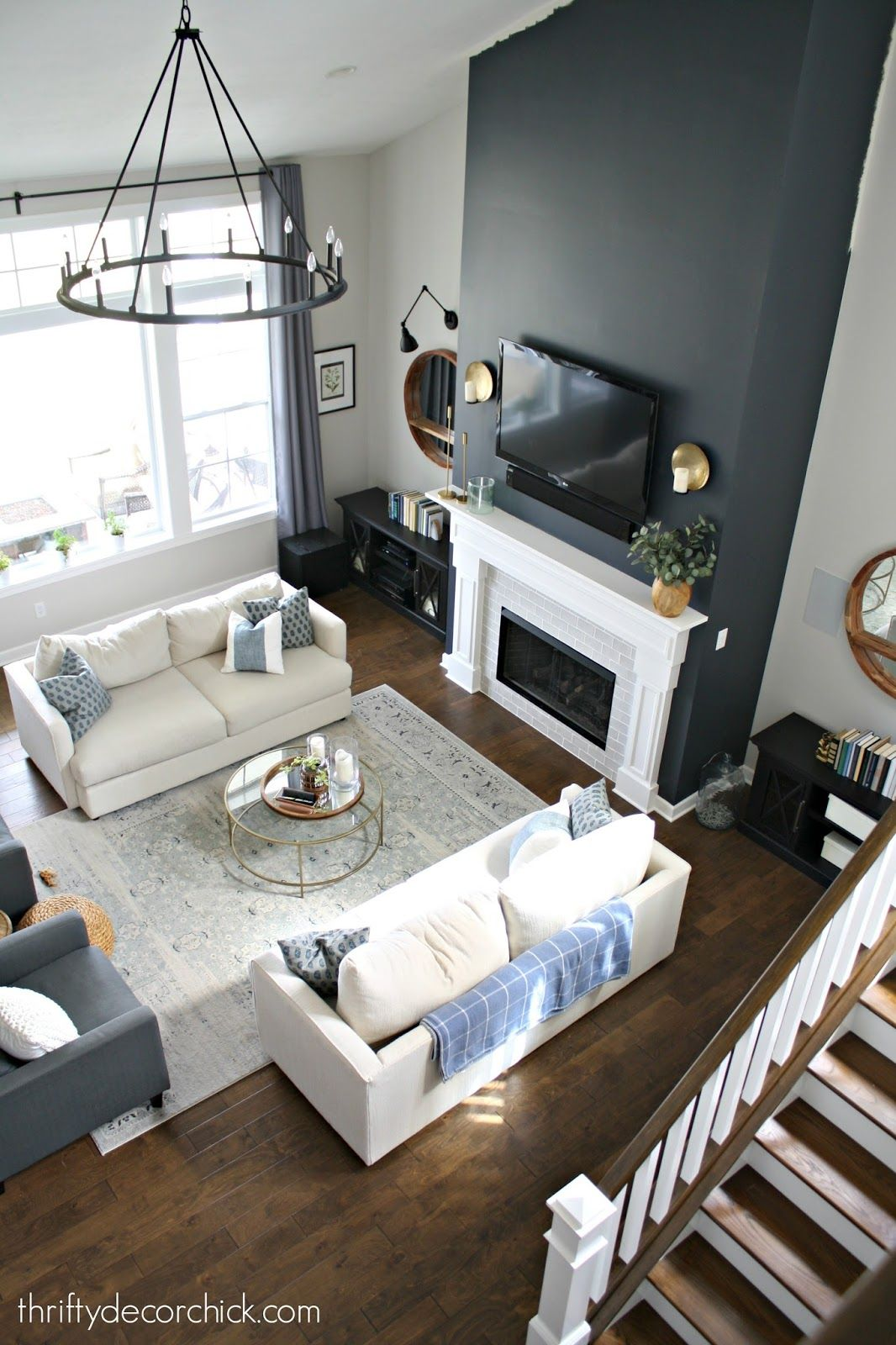 Tall Fireplace Wall Transformation With Paint Accent Walls In