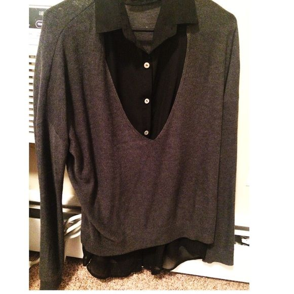 Sweater With Built In Collar Shirt Great Top For Work Or Interviews