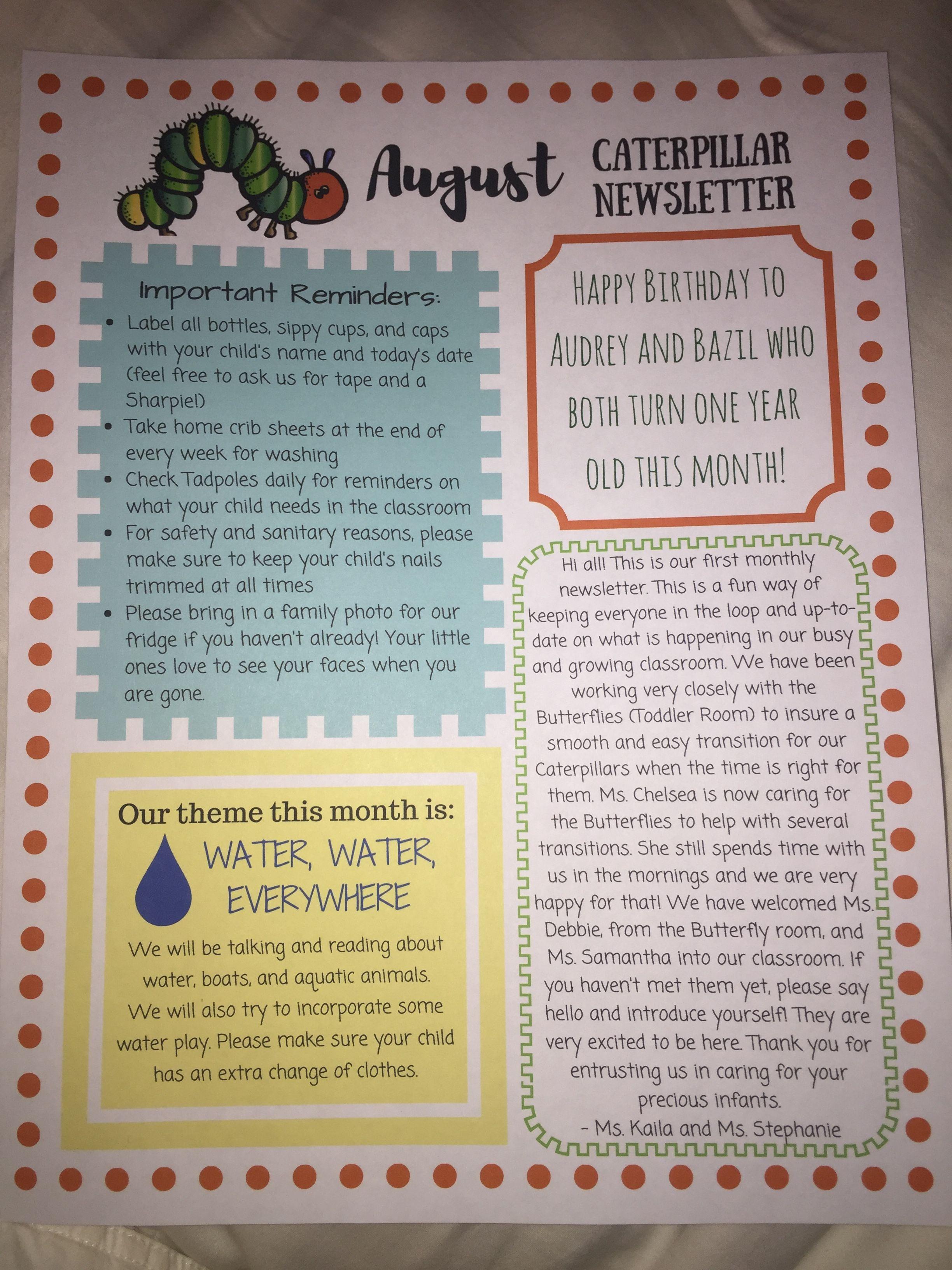 Infant Room Preschool Newsletter Preschool Newsletter Classroom Newsletter Toddler Daycare