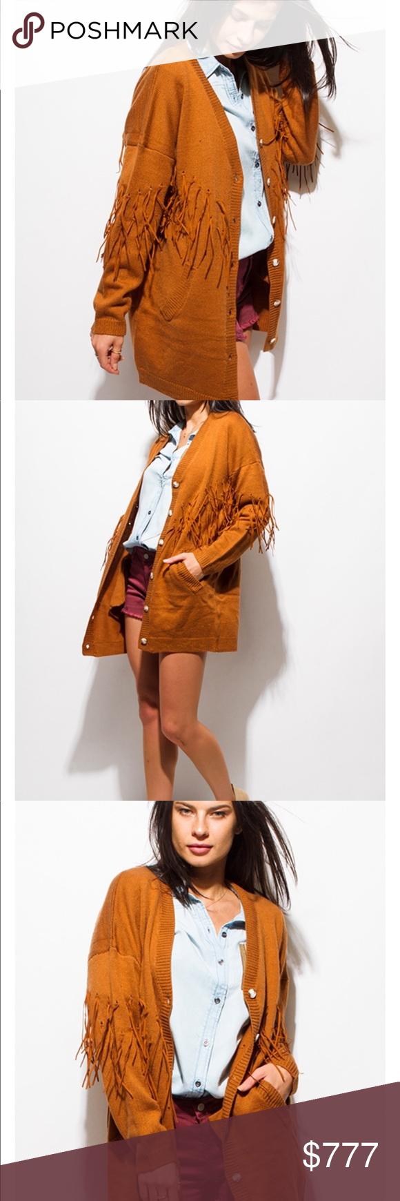 🍂 Oversized fringe cardigan camel rust Boutique | Brown style ...