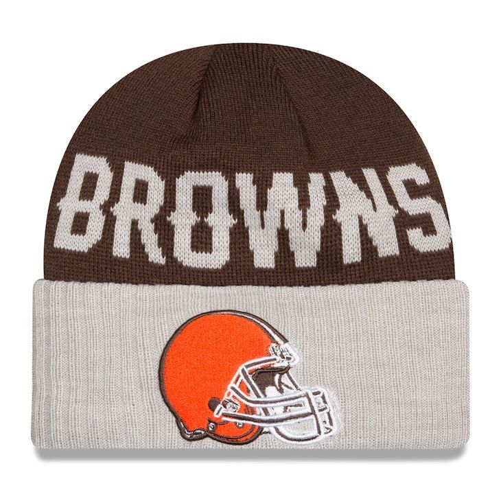 ce35a5e68dad4 Men s Cleveland Browns New Era Brown Heather Gray Classic Cover Cuffed Knit  Hat