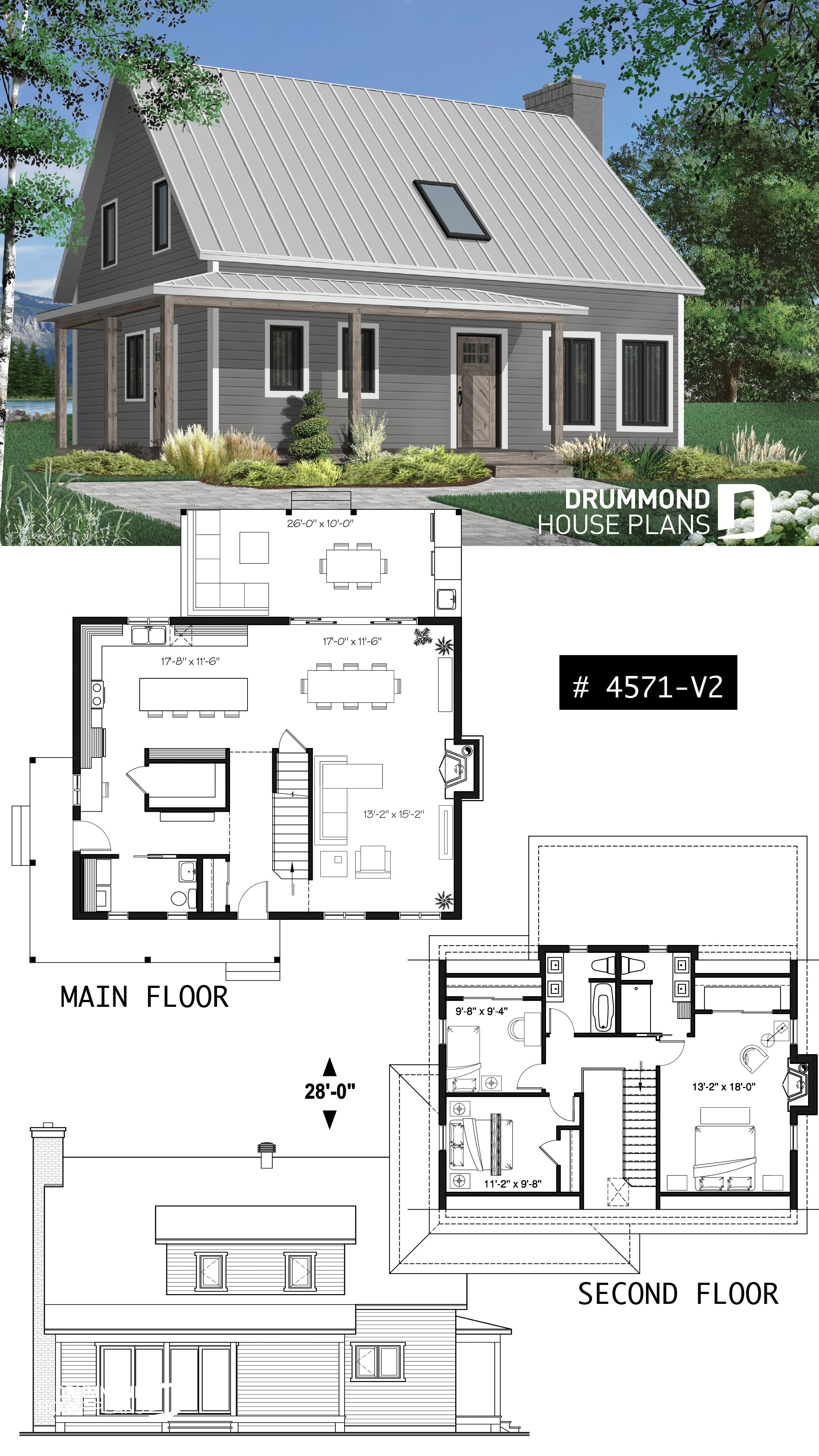 Discover The Plan 4571 V2 Beausejour 4 Which Will Please You For Its 3 Bedrooms And For Its Country Styles Country House Design Small House Plans House Plans