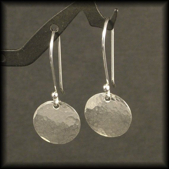9ed2d84dd3b80 Hammered Silver Earrings Small Sterling Circle Dangle Earrings Disk ...