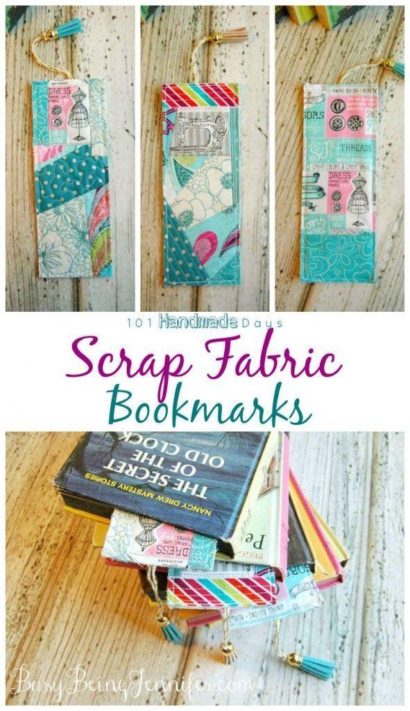 101 Handmade Days: Scrap Fabric Bookmarks - Busy Being Jennifer #scrapfabric