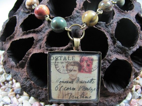 French Postcard Necklace Photo Jewelry by AdornmentsbyDebbie, $30.00