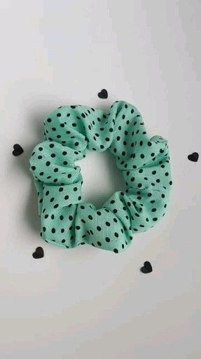 Blue With Black Polka Dot Hair Scrunchie | Handmade In Vancouver &Ndash; Healthy Hair Accessories - Hair Beauty