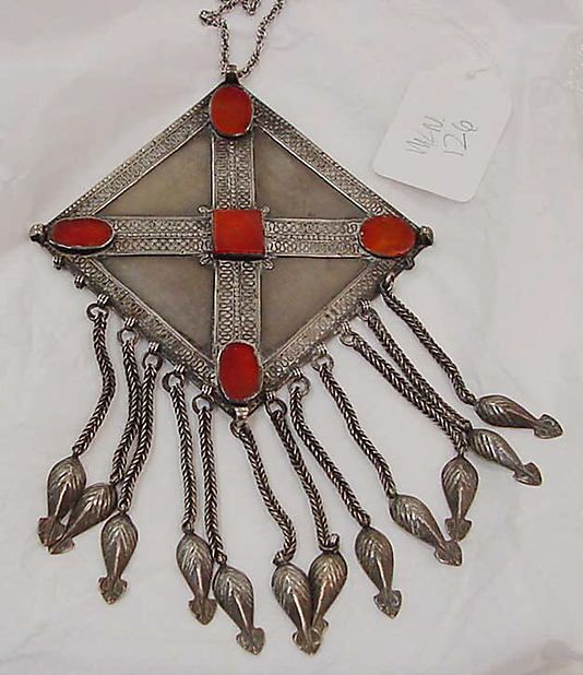 Necklace Date: 19th century Culture: Moroccan Medium: silver, carnelian Dimensions: Length: 20 x 5 1/4 in. (50.8 cm)