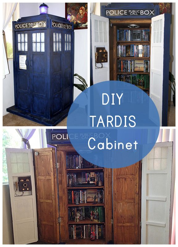 Geek Decor Diy Tardis Bookshelf Cabinet Our Nerd Home Pinterest Tardis Bookshelf Tardis