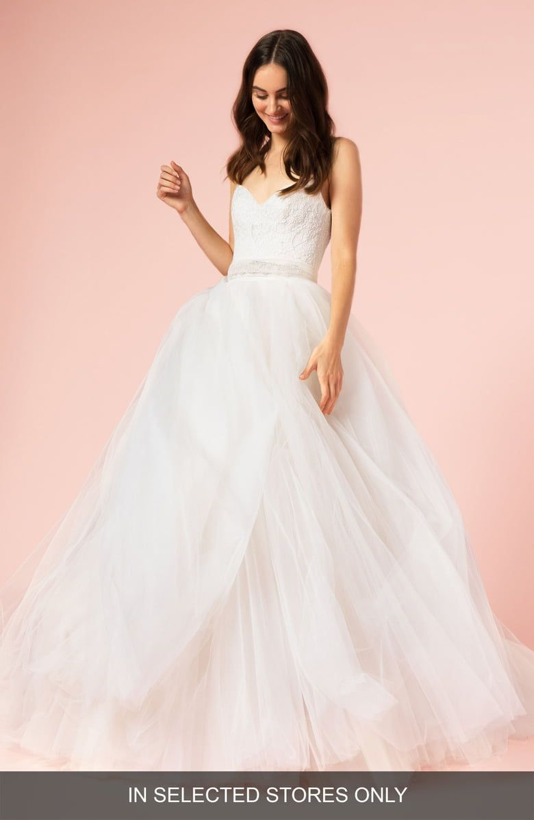 Free Shipping And Returns On Bliss Monique Lhuillier Spaghetti Strap Lace Tulle Ball Gow Ball Gown Wedding Dress Ball Gowns Wedding Wedding Dresses Kleinfeld