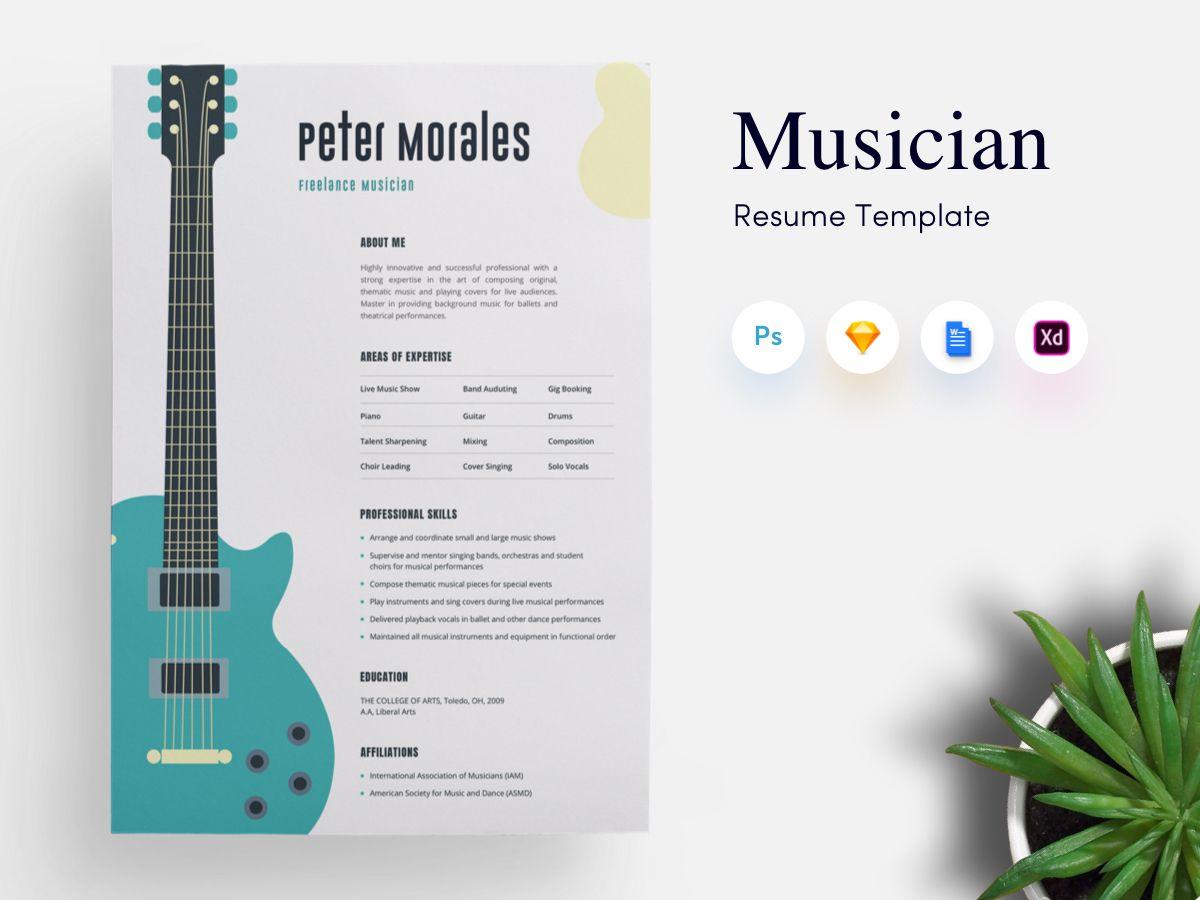 Musician CV/Resume Template Cv resume template, Cv