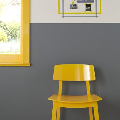 Yellow chair and grey wall. For more like this, click the picture or ...