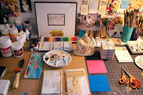 I am full of envy of this organized art (studio.Randel Plowman, Mixed Media Artist 