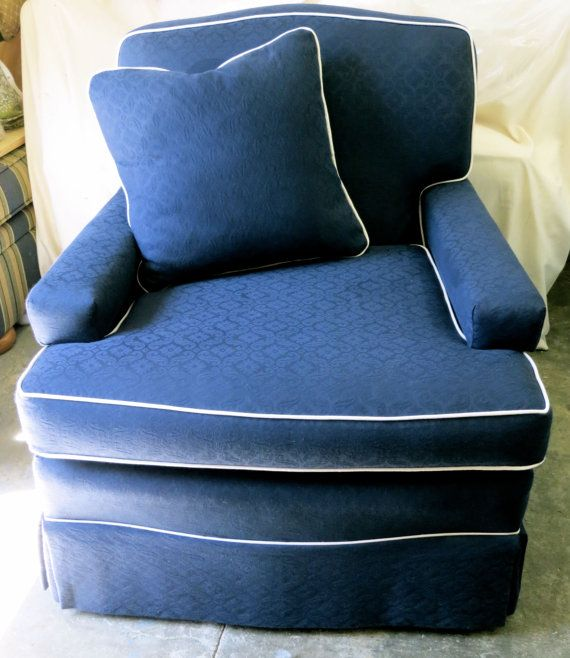 Club Chair In Dark Almost Navy Blue With Cream By