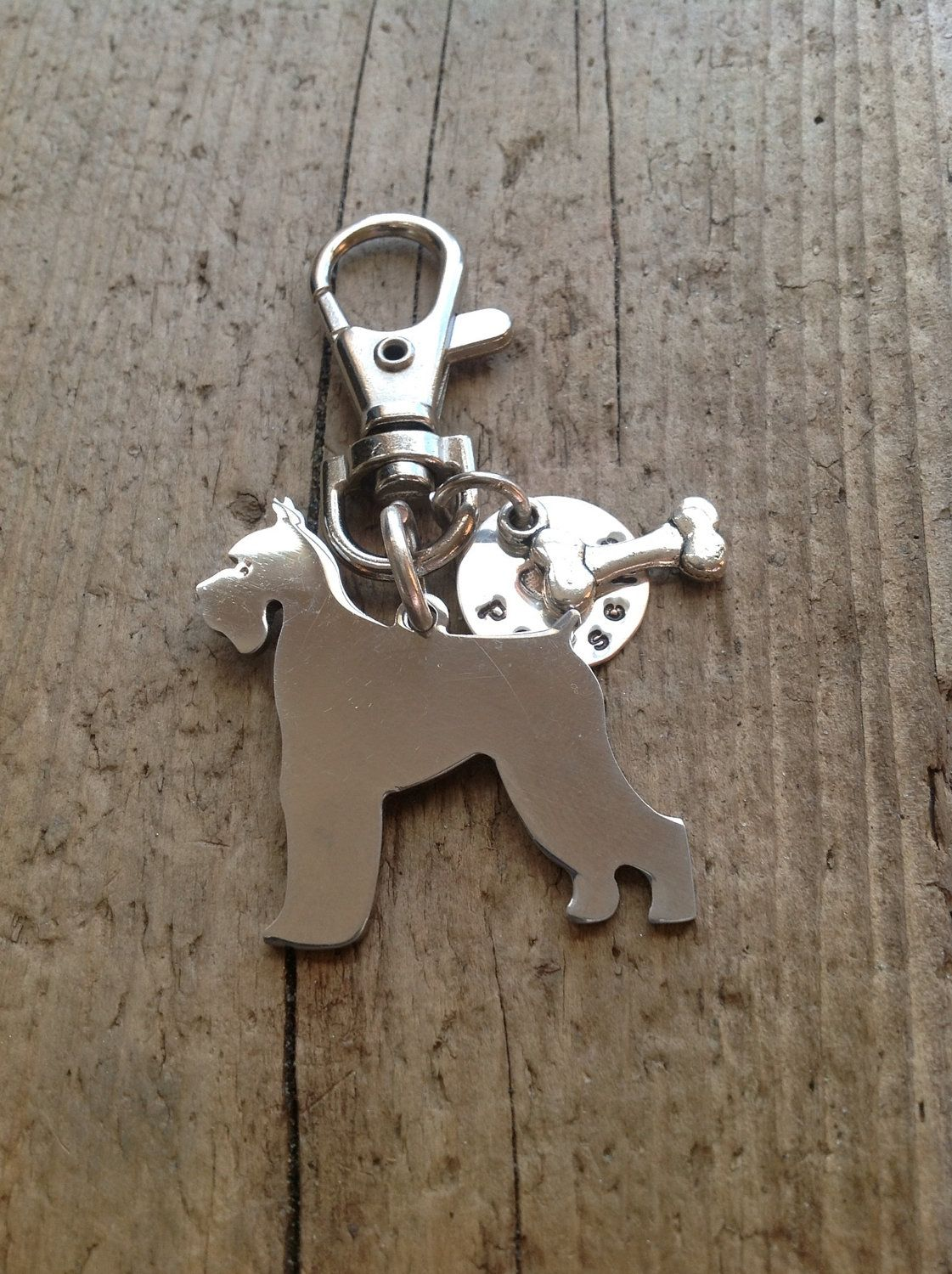 Great Dane Puppy Image Black Leather Keyring in Gift Box