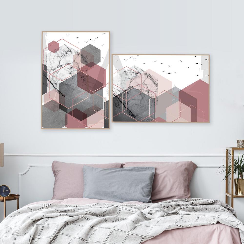 Set Of 4 Printable Blush Pink Hunter Green And Gold Geometric Etsy Rose Gold Bedroom Decor Room Decor Bedroom Rose Gold Gold Bedroom Decor