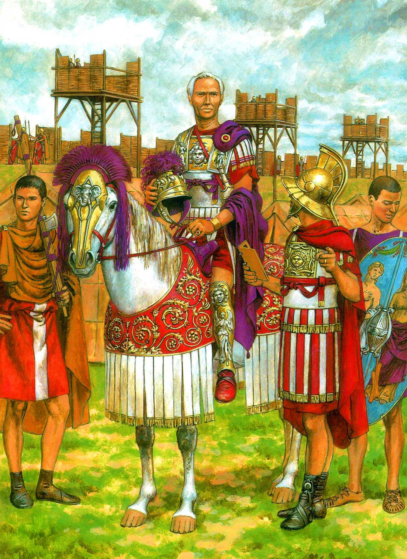 Julius Caesar With His Legionaries At A Fortified Military