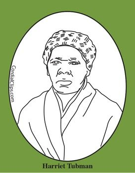 Harriet Tubman Clip Art Coloring Page Or Mini Poster Art Coloring Pages Black And White Lines