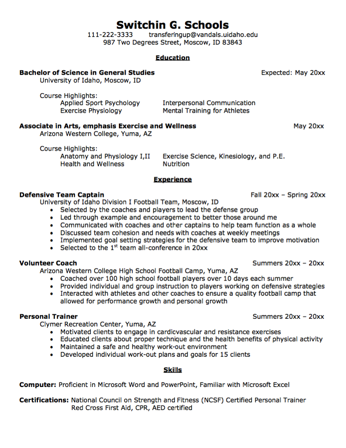 Resume Template College Transfer Student Resume Sample  Httpexampleresumecv