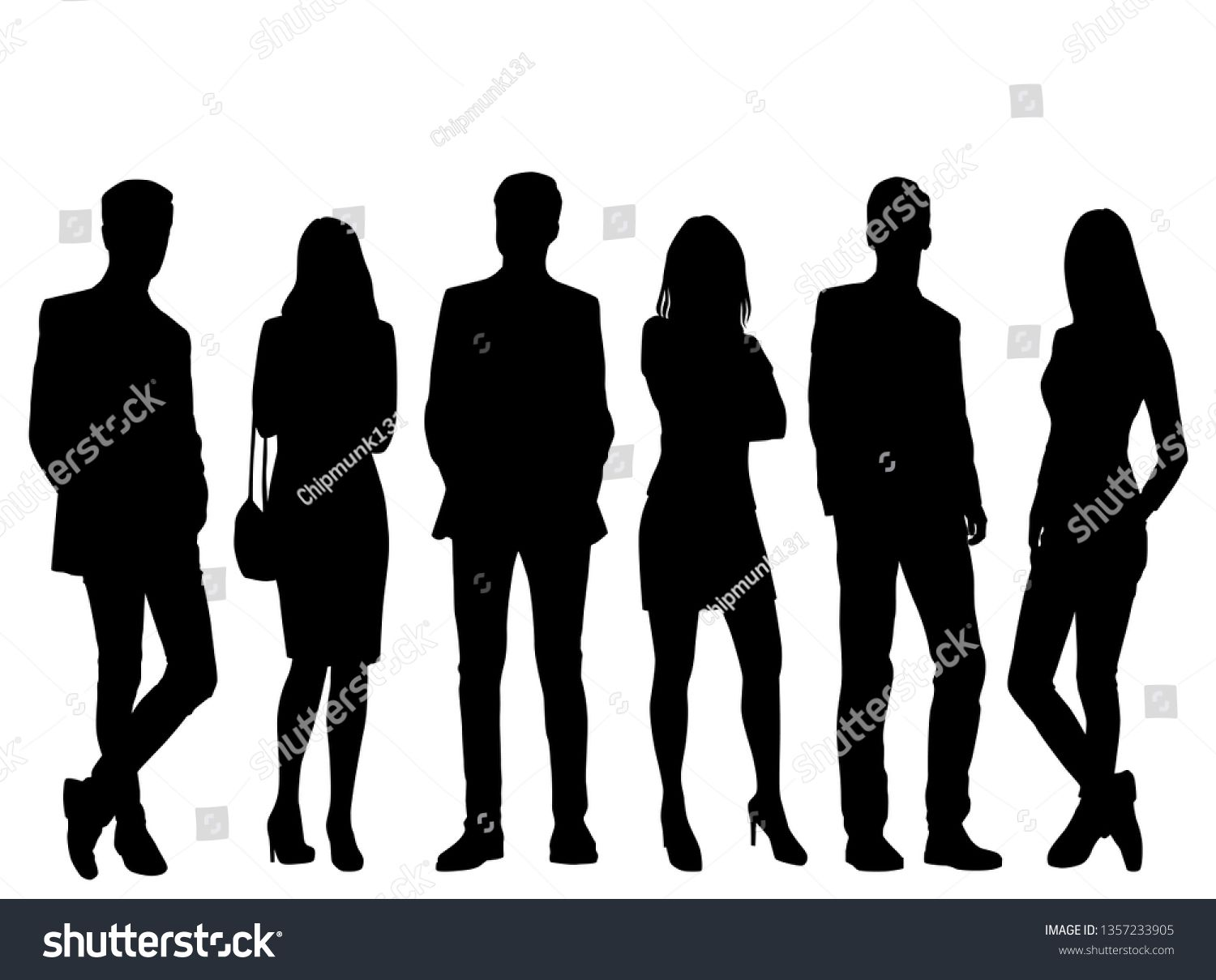 Set Of Vector Silhouettes Of Men And A Women A Group Of Standing