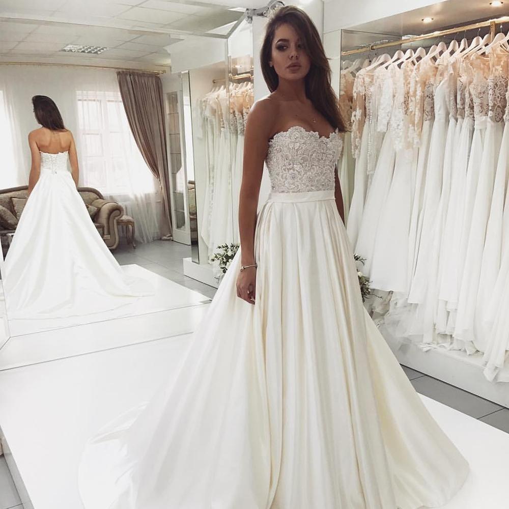 Sweet Heart Satin Beaded Wedding Dress A Line Backless Lace Top Wedding Dress W3051 Wedding Dresses Strapless Backless Wedding Lace Top Wedding Dress [ 1000 x 1000 Pixel ]
