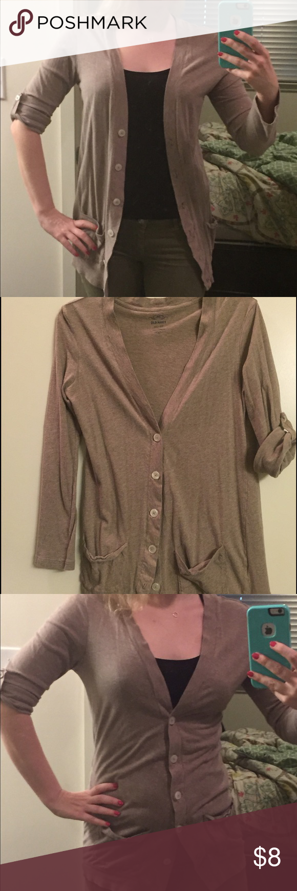 Old Navy Brown cotton cardigan XS | Lightweight cardigan, Navy and ...