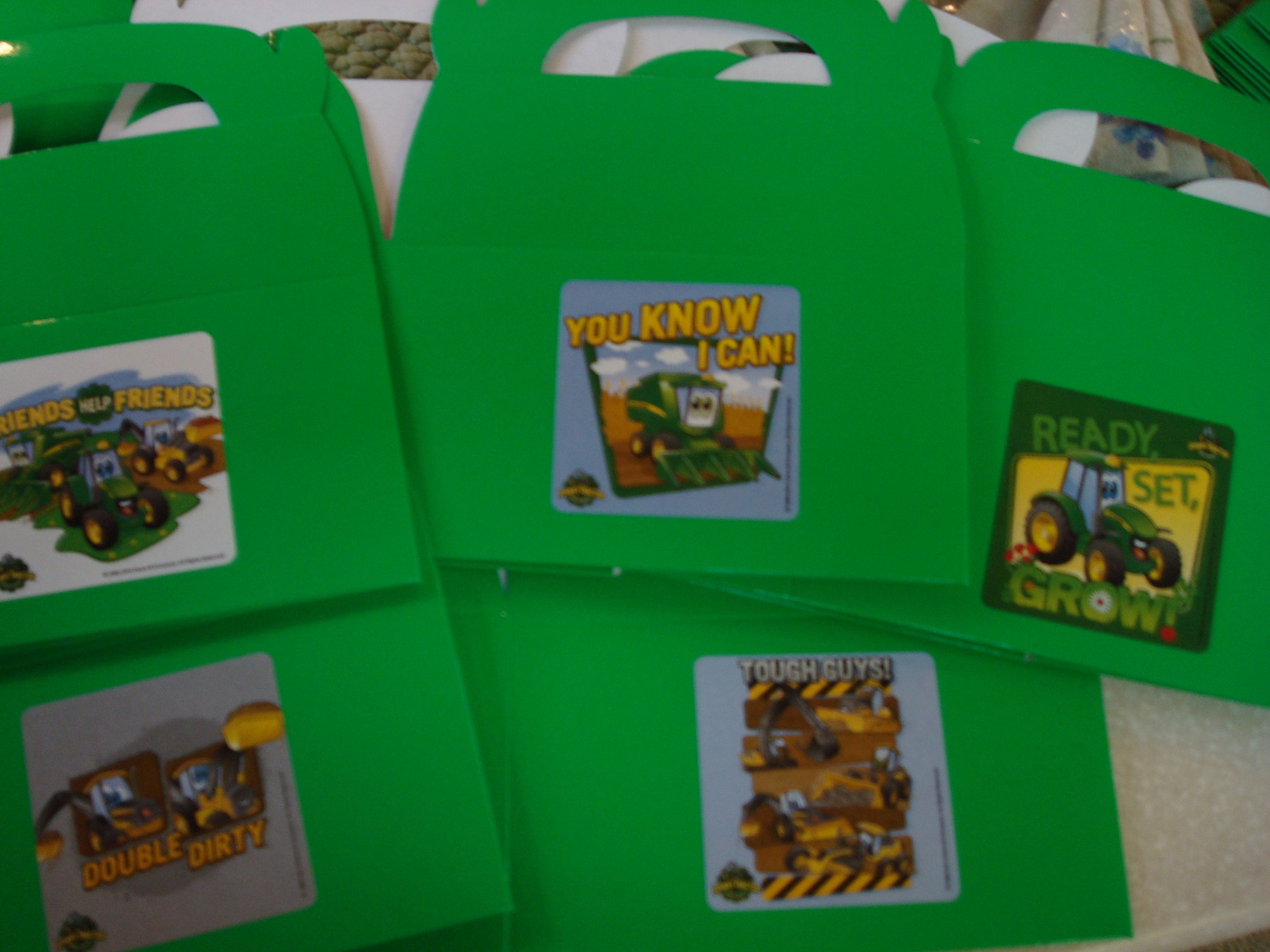 John Deere Favor Boxes; Johnny Tractor Birthday Party Favors; Little ...