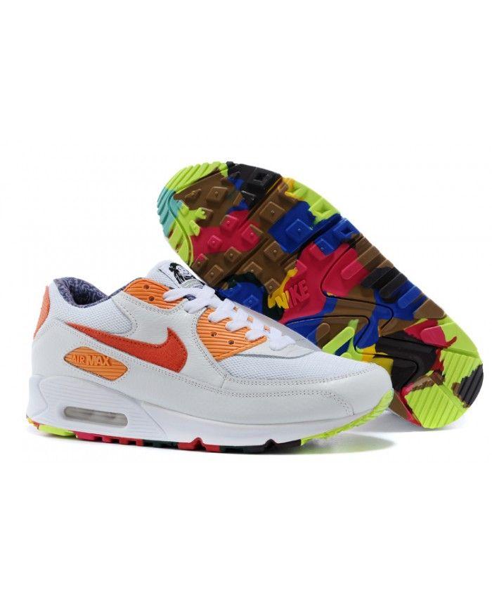 new product 85468 c4fc8 Nike Air Max 90 Premium Rainbow White Orange Red Sale Online ...