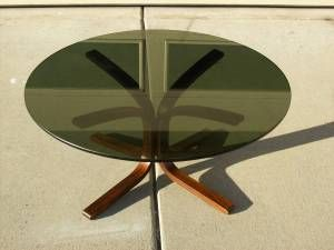 Vatne Mobler Danish Round Coffee Table Glass Top Rosewood Base 149 In Longmont Modern Decor Furniture Modern