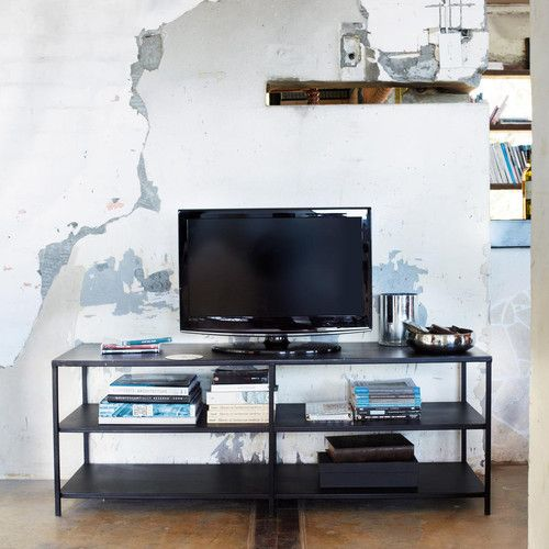 edison meuble tv indus noir 231 maison pinterest tvs. Black Bedroom Furniture Sets. Home Design Ideas