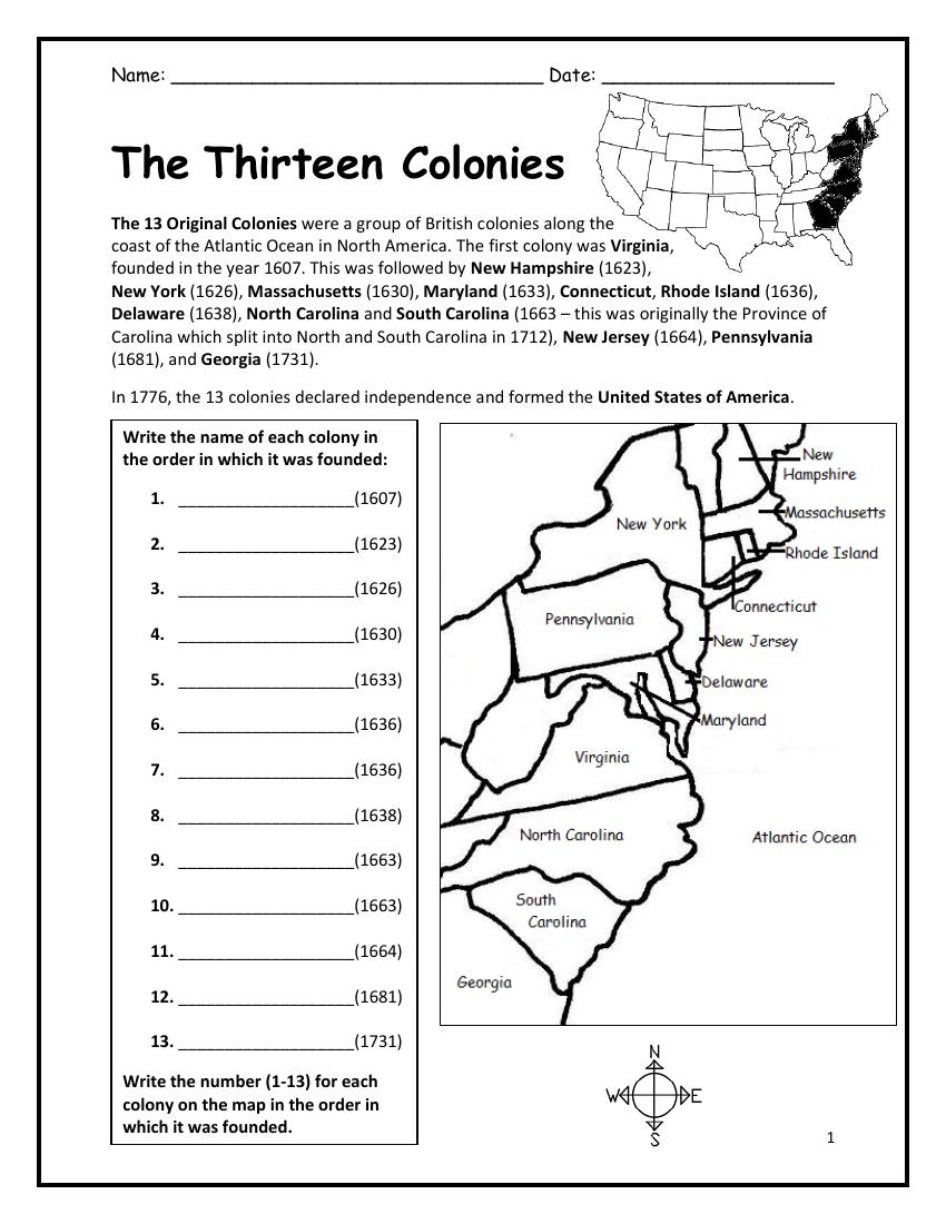 13 Colonies - United States of America   Social studies worksheets [ 1100 x 850 Pixel ]