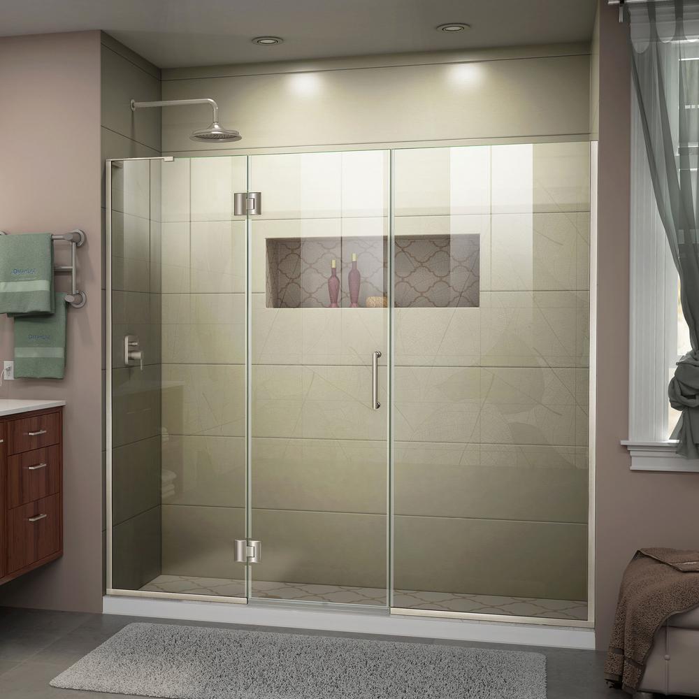 Dreamline Unidoor X 68 In To 68 1 2 In X 72 In Frameless Hinged Shower Door In Brushed Nickel In 2021 Frameless Shower Doors Black Shower Doors Shower Doors 60 x 72 shower door